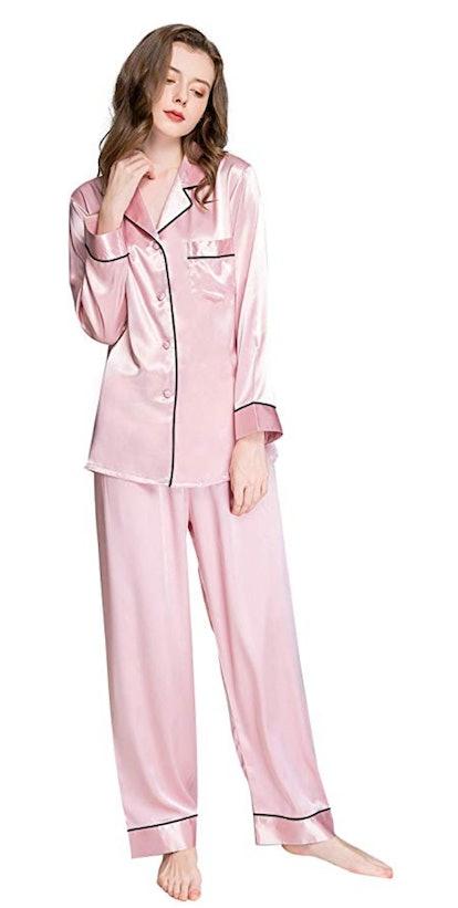 Womens Silk Satin Pajamas Set