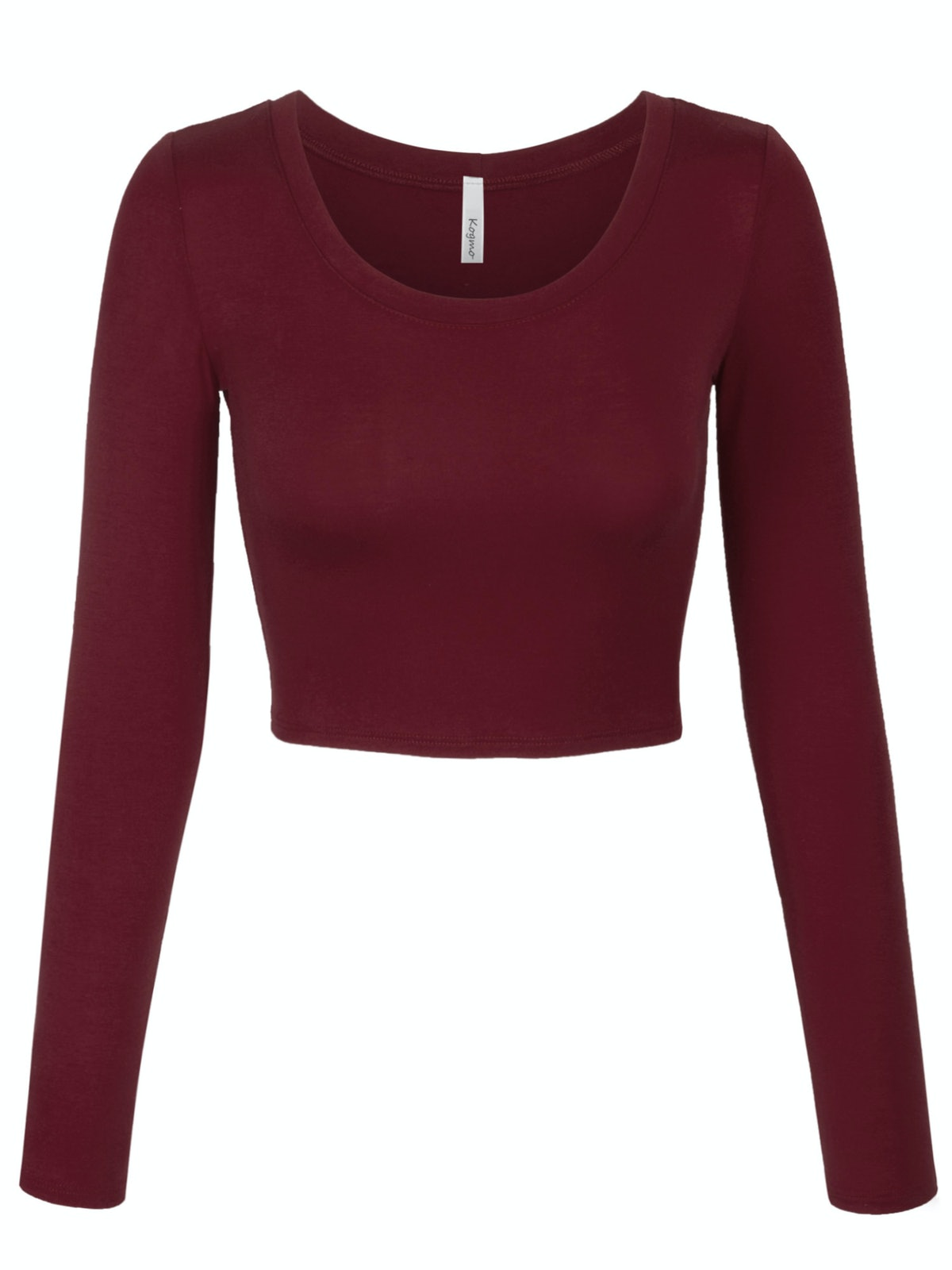 KOGMO Womens Long Sleeve Crop Top Solid Round Neck T Shirt