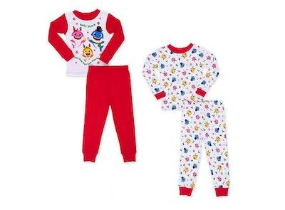 Baby Shark Christmas Toddler Pajama Set in Red set of 2
