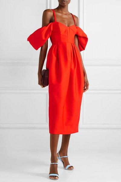 Cold-shoulder pleated cotton-poplin midi dress