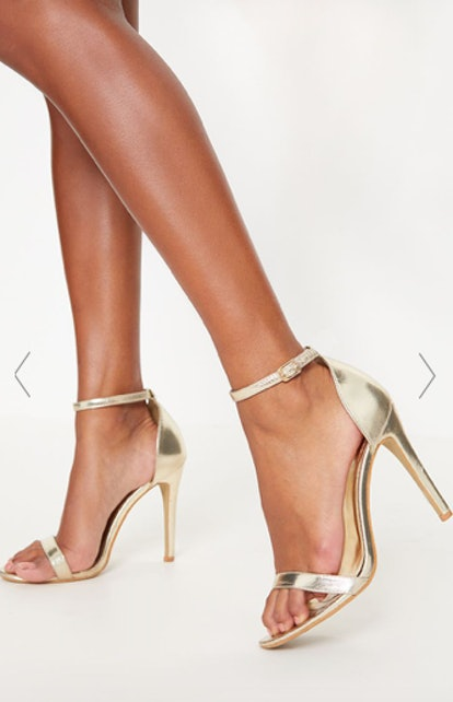 GOLD METALLIC HEELED STRAPPY SANDAL