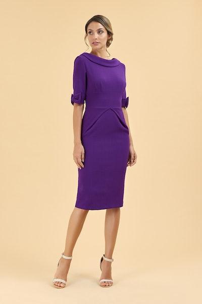 Hollywood Purple Mid Sleeve Pencil Dress