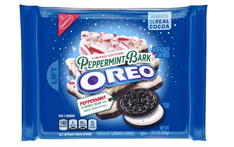 Peppermint Bark Oreos are back for the holidays.