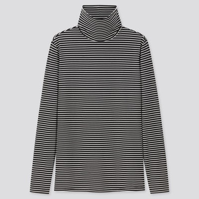 Heattech Striped Turtleneck Thermal Top