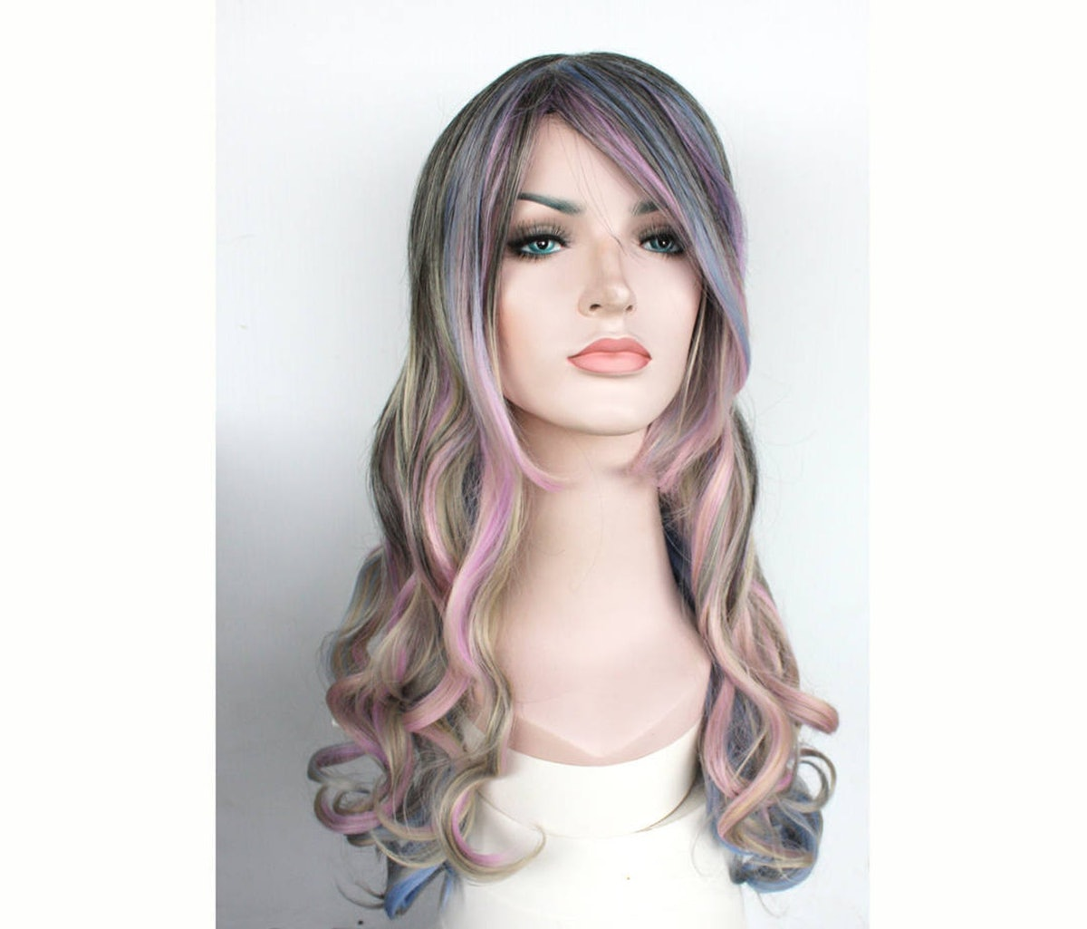 Elegant Ombre Dark Brown with Pastel Highlight Long Curly Wig