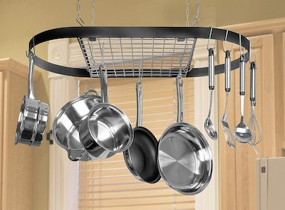 Kinetic Pot And Pan Rack With Ceiling Hooks