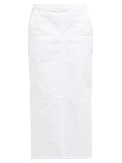 Paneled Denim Midi Skirt