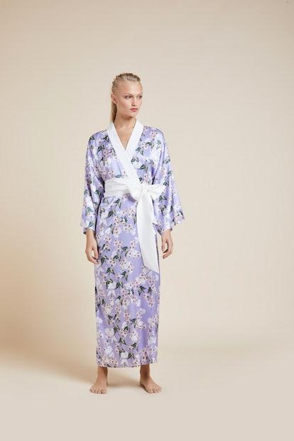 Queenie Apple Blossom Full Length Silk Kimono