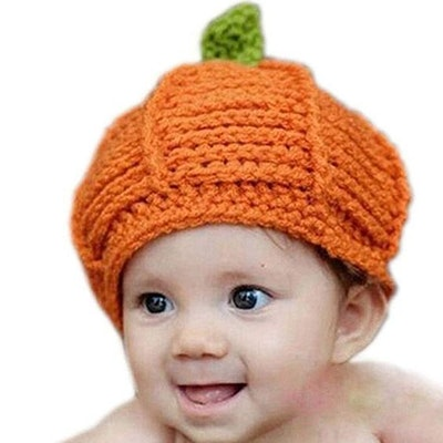 Kafeimali Newborn Unisex Baby Boys Girls Beanie Wool Pumpkin Knit Crochet Hats for Halloween Caps Yellow