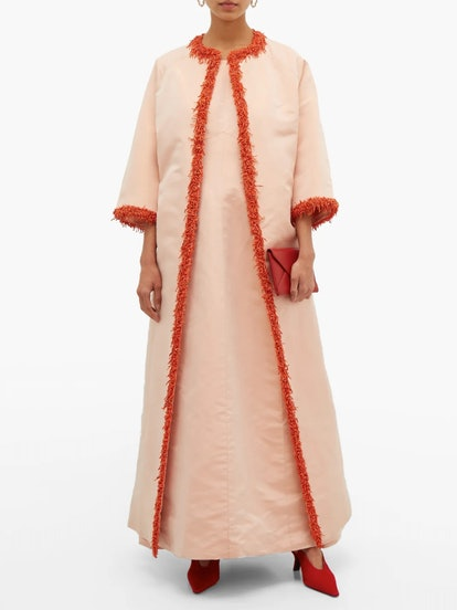 Givenchy 1963 Coral-Trimmed Faille Coat and Gown