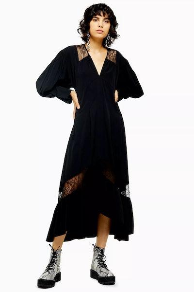 Black Lace Trim Smock Dress