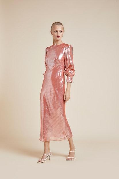 Aureta Grace Silk Lurex Mid-Length Dress