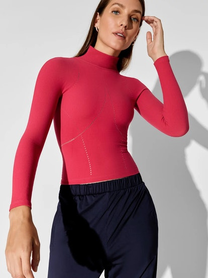 Seamless Mesh Contrast Top