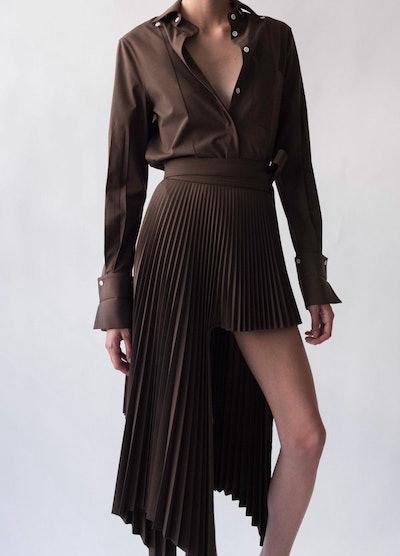 Brown Sliced Pleated Skirt