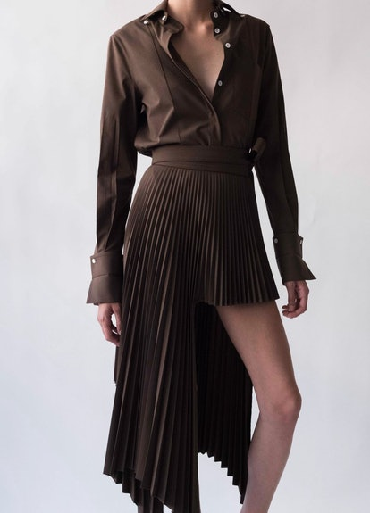 Brown Sliced Pleated Skirt