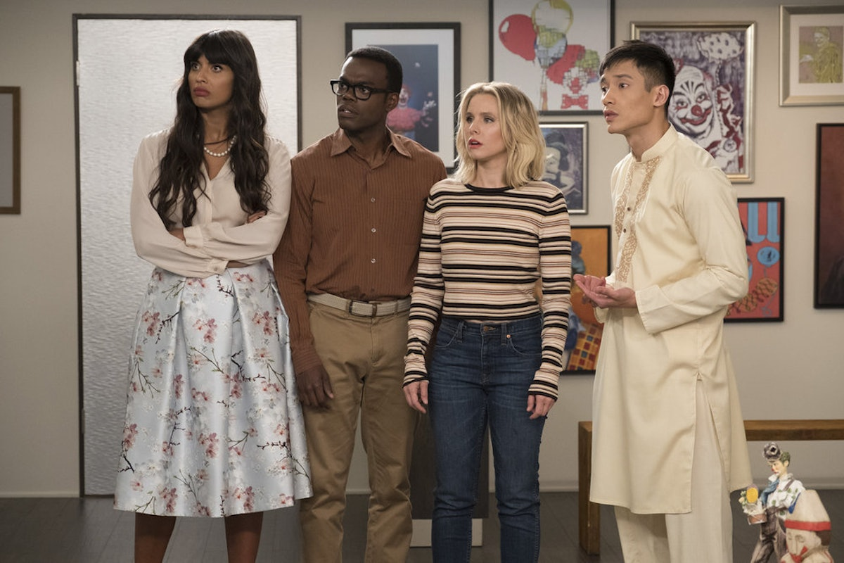 Tahani, Chidi, Eleanor, and Jason gasping because these The Good Place theories for final season are...