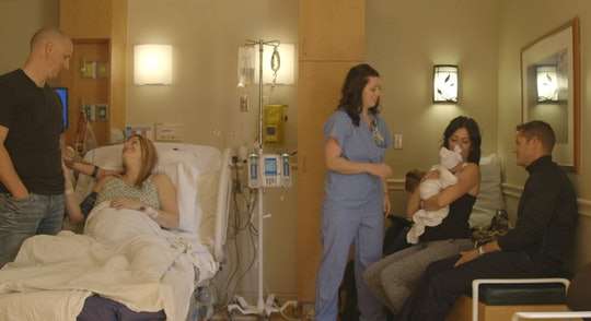 Surrogate Nicole rests after giving birth while intended parents Shannon and Tom cuddle their new baby in a new surrogacy documentary.