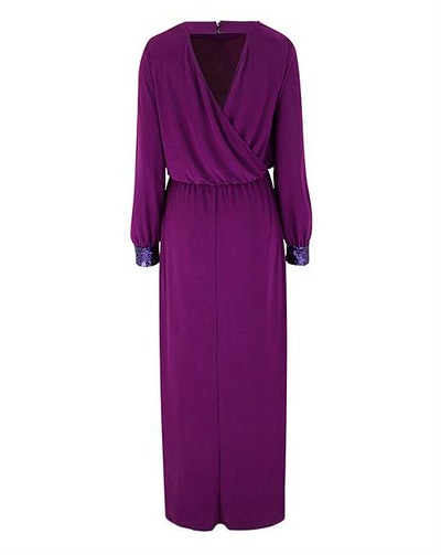 Sequin Detail Drape Maxi Dress