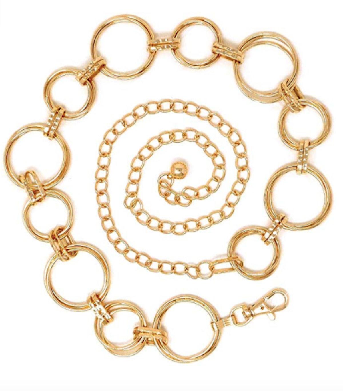 Polished O- Ring Metal Link Chain Belt