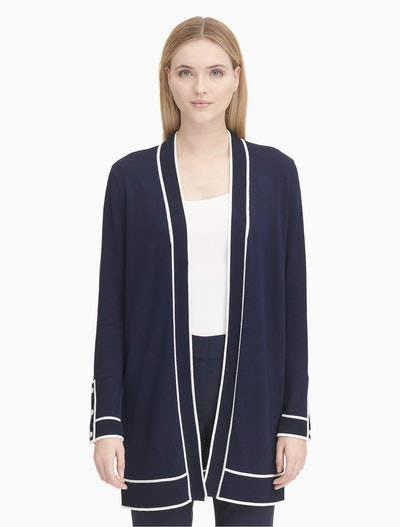 Piped Ribbed Cardigan Sweater