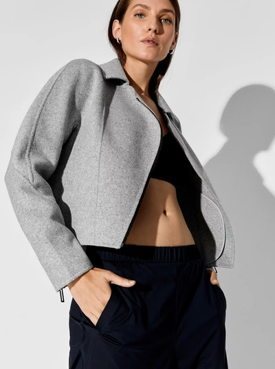 Asymmetrical Wool Biker Jacket