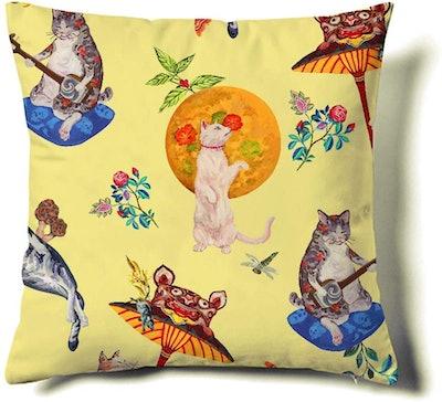 junxi Cat Print Decorative Pillow