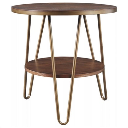 Lettori Round End Table Brown