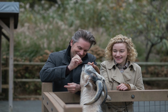 "Shea Whigham as Peter and Julia Garner as Maddy in the Modern Love episode ""So He Looked Like Dad. It Was Just Dinner, Right?"""