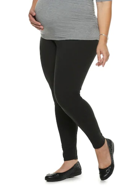 A:Glow Plus Size Maternity Full Belly Panel Solid Leggings
