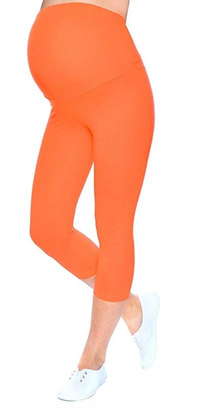 Mija High Quality Maternity 3/4 Cropped Leggings Orange