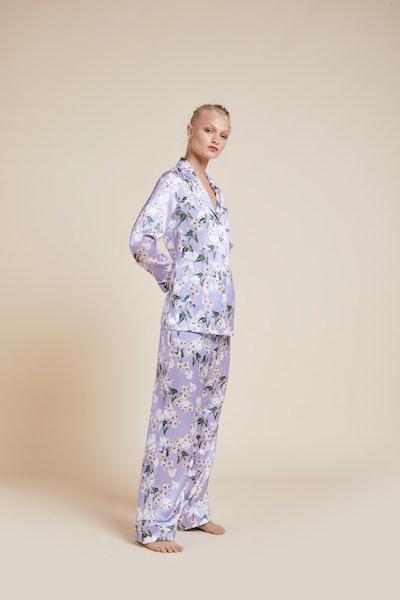 Lila Apple Blossom Silk Pajama
