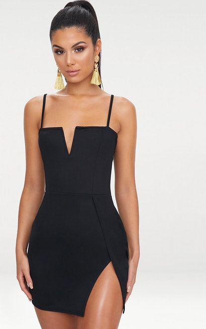 BLACK EXTREME THIGH SPLIT PANELLED PLUNGE BODYCON DRESS