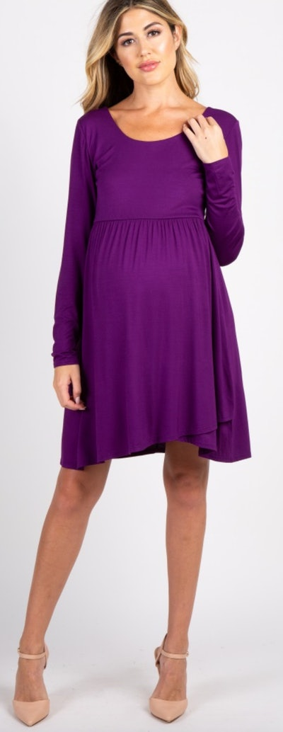 Pink Blush Purple Empire Waist Crisscross Back Maternity Dress