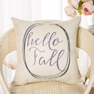"""Fahrendom """"Hello Fall"""" Linen Pillow"""