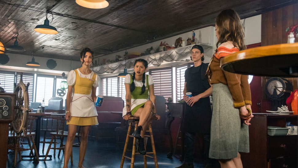 Maddison Jaizani as Bess, Leah Lewis as George, Alex Saxon as Ace, and Zibby Allen as Rita in 'Nancy Drew' Episode 3