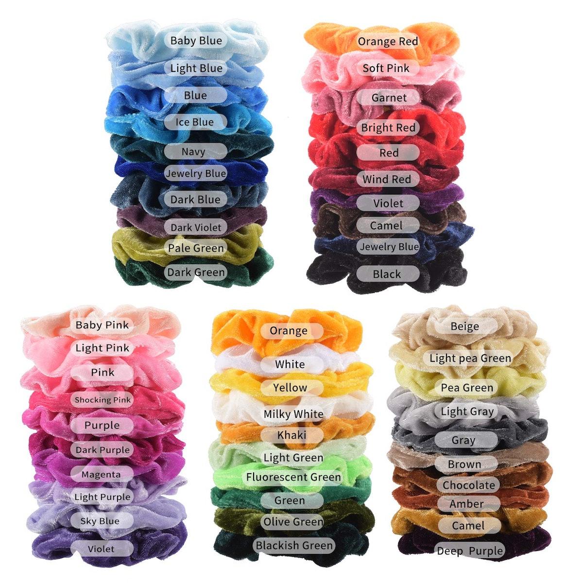 Premium Velvet Hair Scrunchies (50-Pack)
