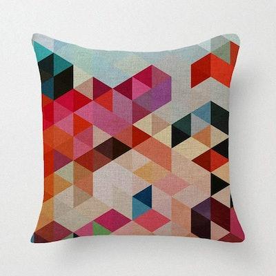 Lyn Cotton Linen Geometric Decorative Pillow