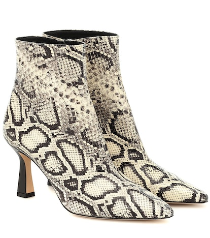 Lina Snake-Effect Leather Ankle Boots