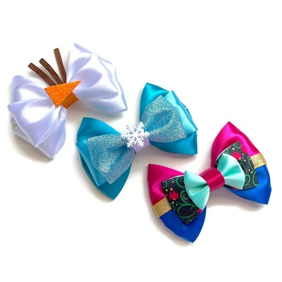 Elsa, Anna and Olaf Disney Frozen Inspired Hair Bows (Set of 3)