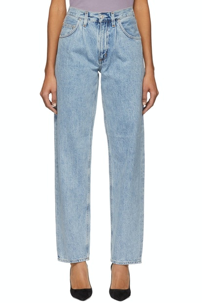Blue Pleats Baggy Oversized Jeans