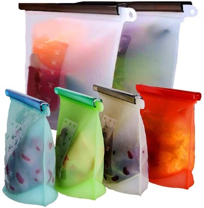 WOHOME Reusable Silicone Food Storage Bags (6-Pack)