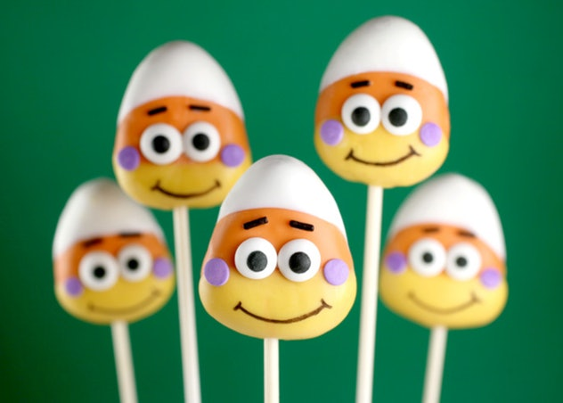 Candy corn cake pops are a fun and festive Halloween snack for the classroom.