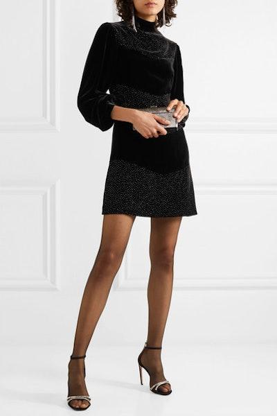 Chloe Crystal-Embellished Velvet Mini Dress