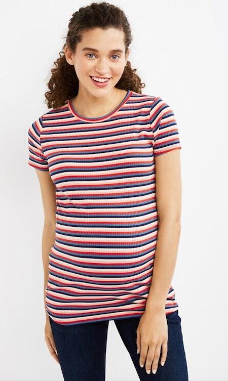 Motherhood Maternity Rib Knit Multi Stripe Maternity Top