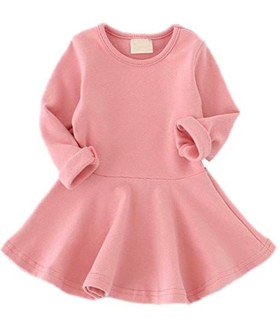 GSVIBK Baby Girls Cotton Dress Solid Toddler Dress Girl Casual Dress Long Sleeve Infant Playwear Dresses