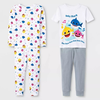 Toddler Boys' 4pc Baby Shark Pajama Set - White/Gray