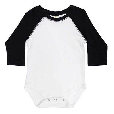 Laughing Giraffe Baby Long Sleeve Raglan Baseball Onesie Bodysuit (White/Black, 3-6M)