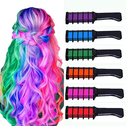 New Hair Chalk Comb Temporary Bright Hair Color Dye (6-Pack)