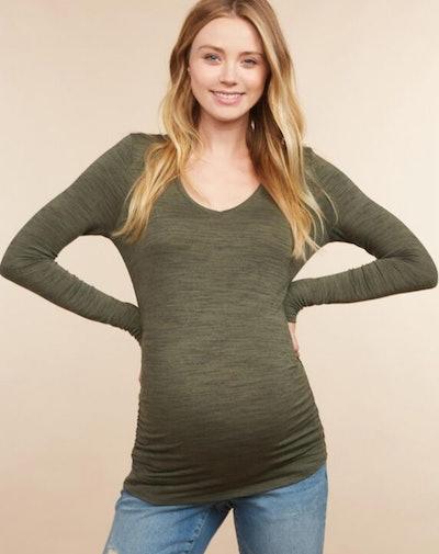 Motherhood Maternity Long Sleeve Side Ruched Maternity T Shirt