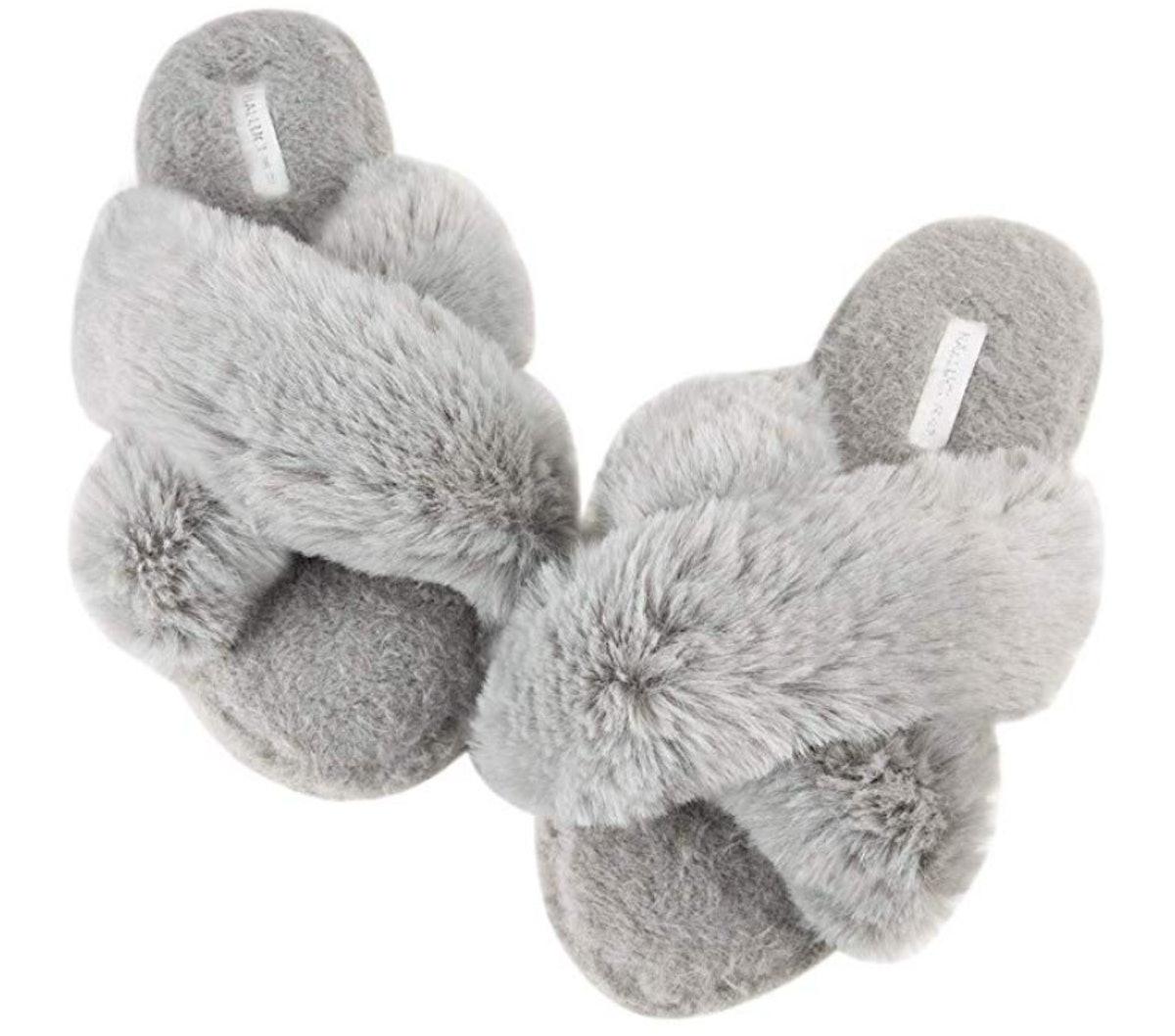 Women's Cross Band Soft Plush Fleece Slippers